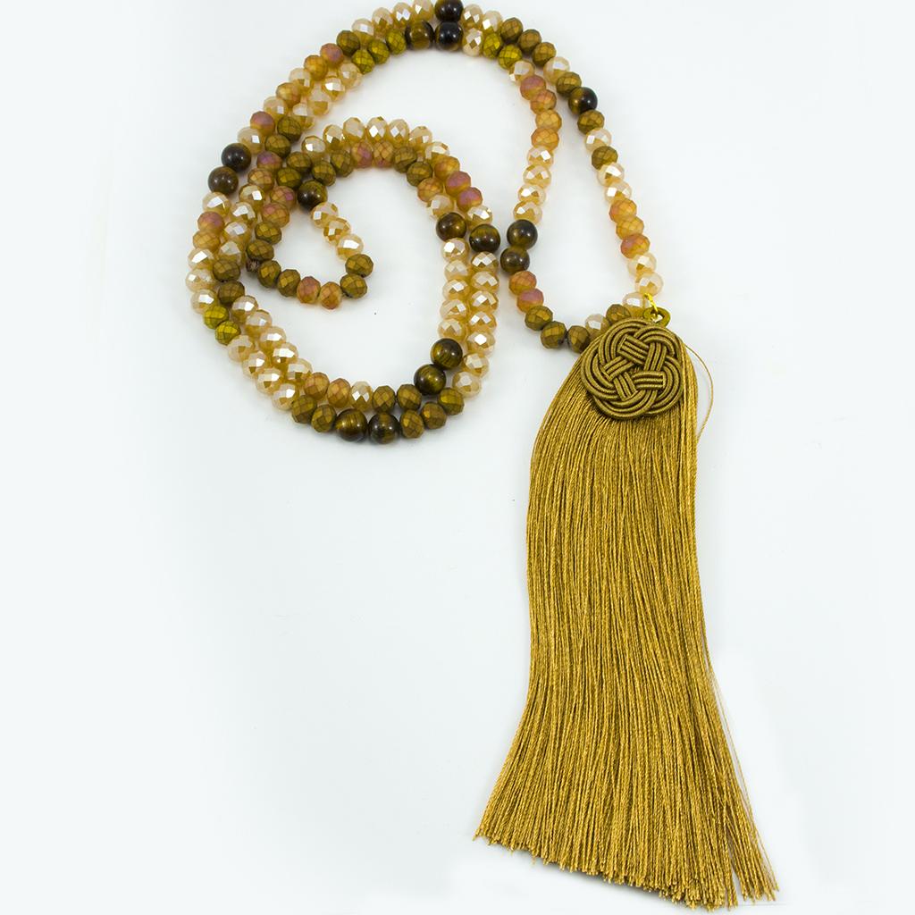 Κολιέ- Μάτι Τίγρης-Κρύσταλλα-Φούντα – Blue Jasmine Accessories 5d80d0b1911